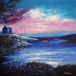 Daybreak Over Earsary Isle Of Barra by John Lowrie Morrison - Original Painting on Stretched Canvas sized 24x24 inches. Available from Whitewall Galleries